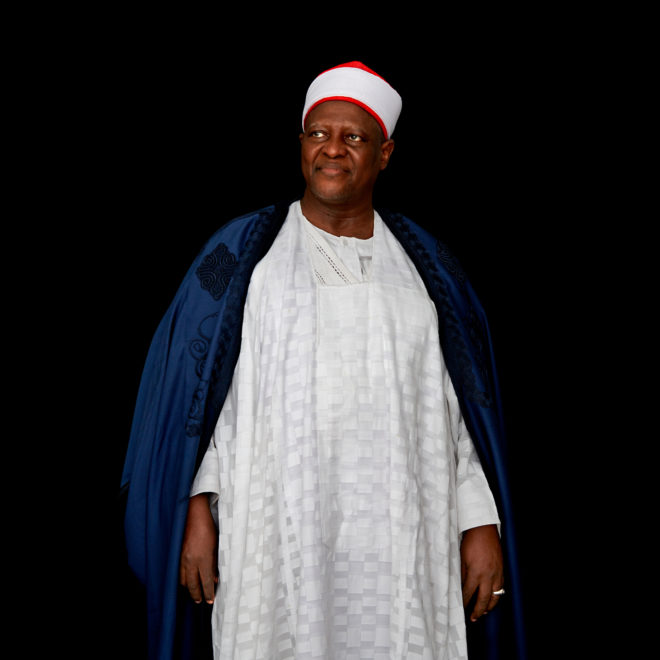 Portrait of the Dr. Haliru Yahaya, the emir of Shonga (Kwara State) in Northern Nigeria. For a portrait series on champions leading to end child marriage in Africa. All images made at the first-ever African Girls' Summit on Ending Child Marriage, held in Lusaka, Zambia. The meeting aimed to facilitate exchange of good practices and challenges in ending child marriage, and to secure and renew commitments from African stakeholders.